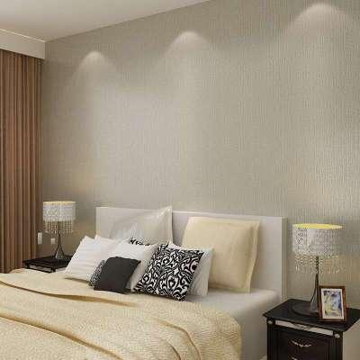 本木现代简约无纺布墙纸卧室房间客厅满铺家装淡黄浅灰素纯色壁纸
