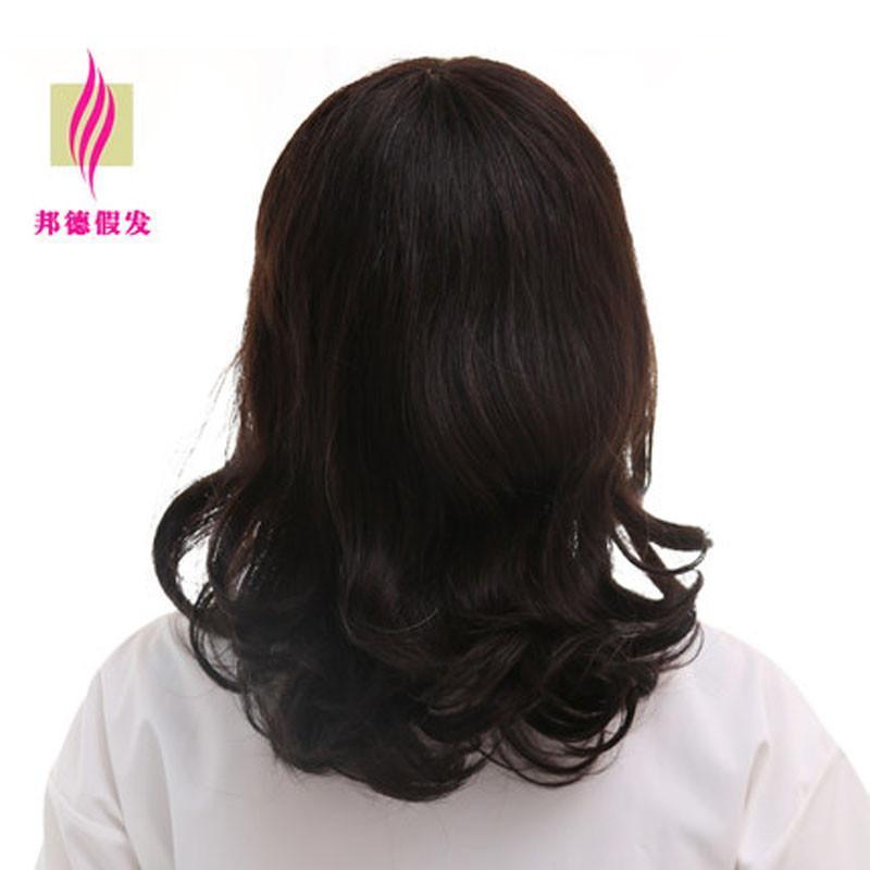 邦德 假发女 长发卷发 1000%真发假发套整顶 梨花头斜