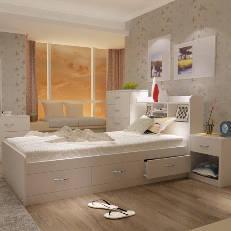 福立方欧式白色高箱储物床1.图片