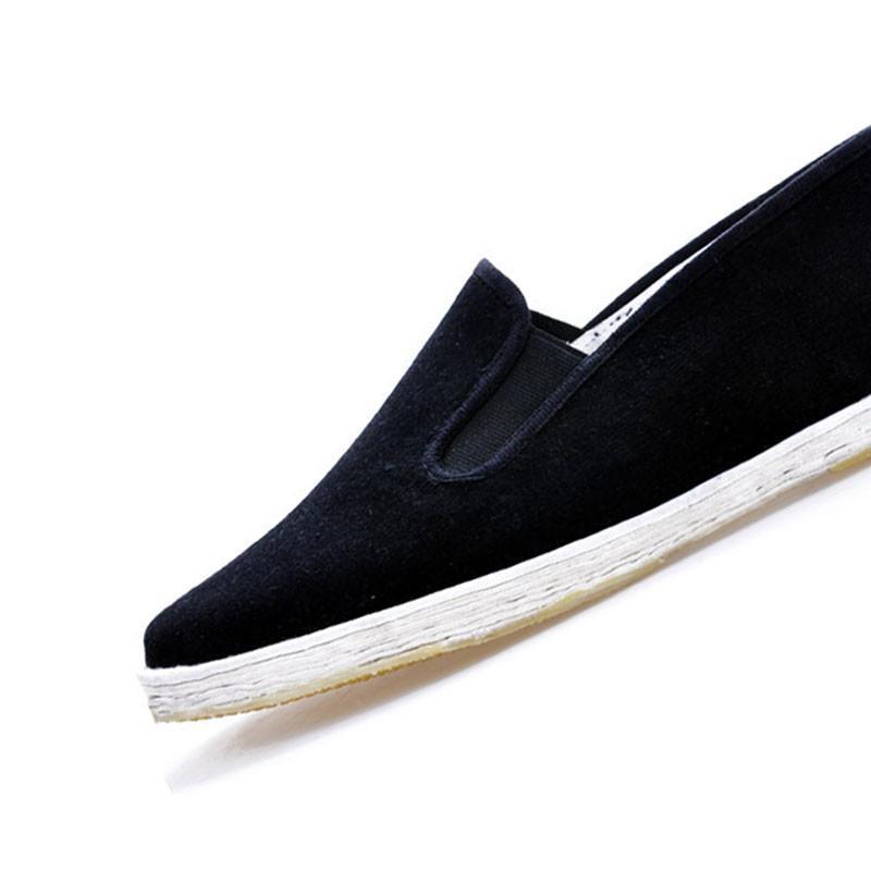 谋福纯手工老北京布鞋日常休闲鞋遛弯鞋男鞋鞋底胶片防滑鞋 黑色 圆口