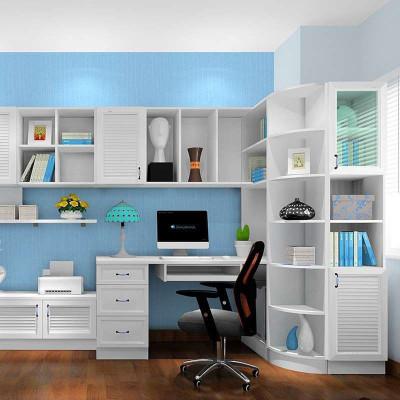 尚品宅配 转角书柜 定制韩式连体书桌柜 电脑桌 书房家具组合图片