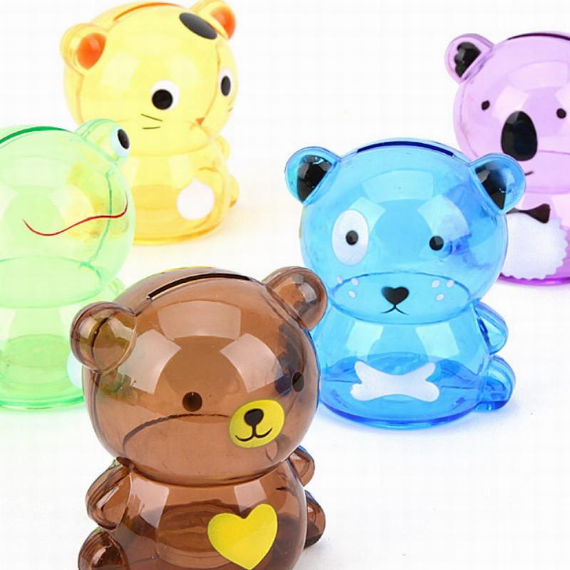 淘乐士可爱小号卡通动物透明储蓄罐 存钱罐 彩盒零钱储存罐 5个装(5款