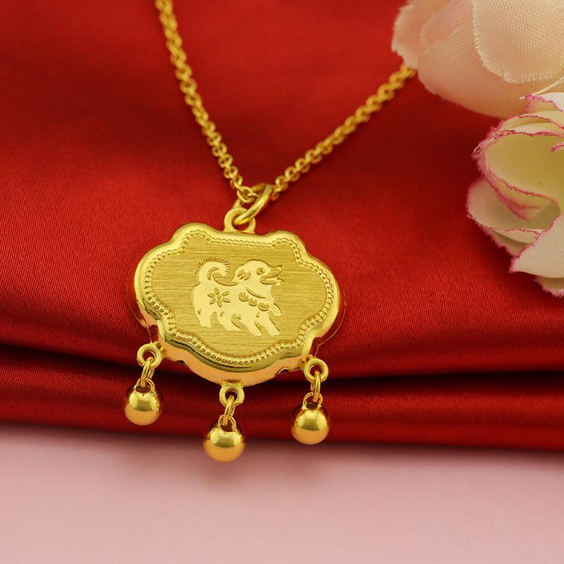 金地珠宝 黄金吊坠 足金福字可爱小狗铃铛锁包 十二生肖狗锁包 黄金