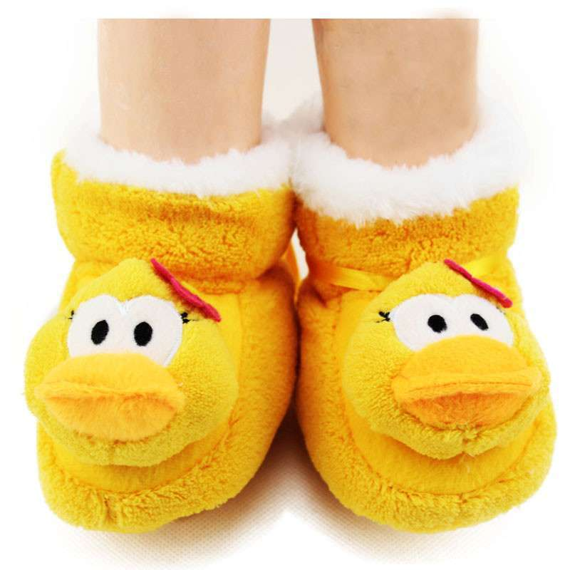 雅尔邦尼超保暖加厚珊瑚绒卡通动物头立体袜 宝宝鞋套