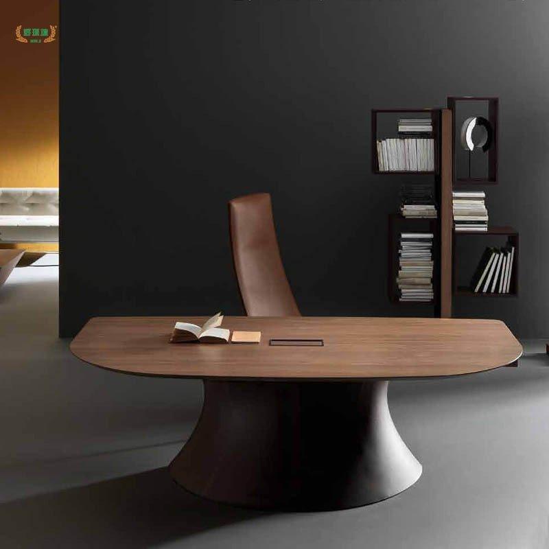 2米简约时尚大班台 异形主管办公桌总栽桌 白色 胡桃木色 2200*1200