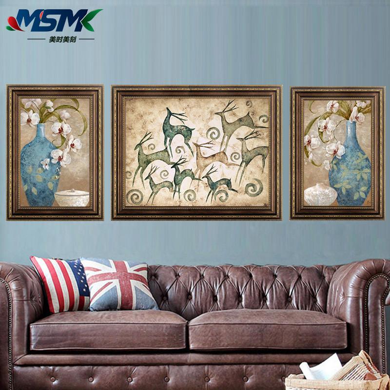 發財鹿美式鄉村風格客廳裝飾畫簡歐式沙發背景墻掛畫酒店壁畫餐廳有框