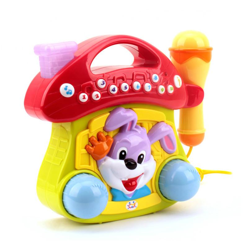 玩具668儿童卡拉ok麦克风可爱小蘑菇点唱机带话筒