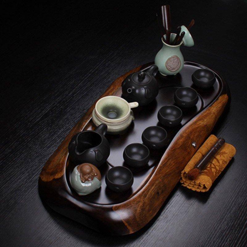 尊儒 整块黑檀木茶盘紫砂汝窑哥窑功夫茶具茶盘可排水