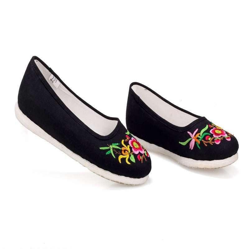 正品内联升女鞋手工十字千层底绣花海元北京布鞋 8419