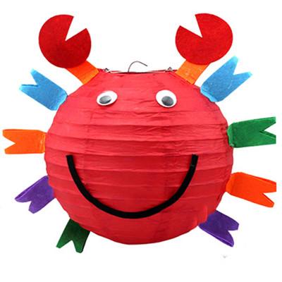 孩派 可爱卡通diy灯笼 儿童生日 灯笼装饰 布置装饰 发光灯笼 螃蟹