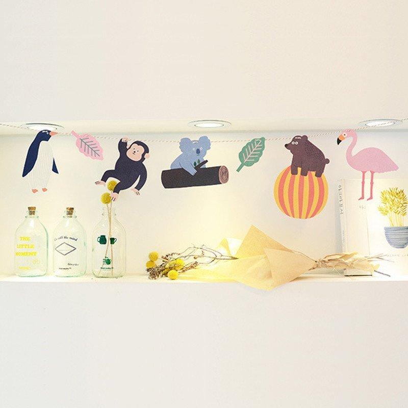 孩派 纸彩旗 生日用品 热带雨林动物彩旗 生日派对聚会三角旗