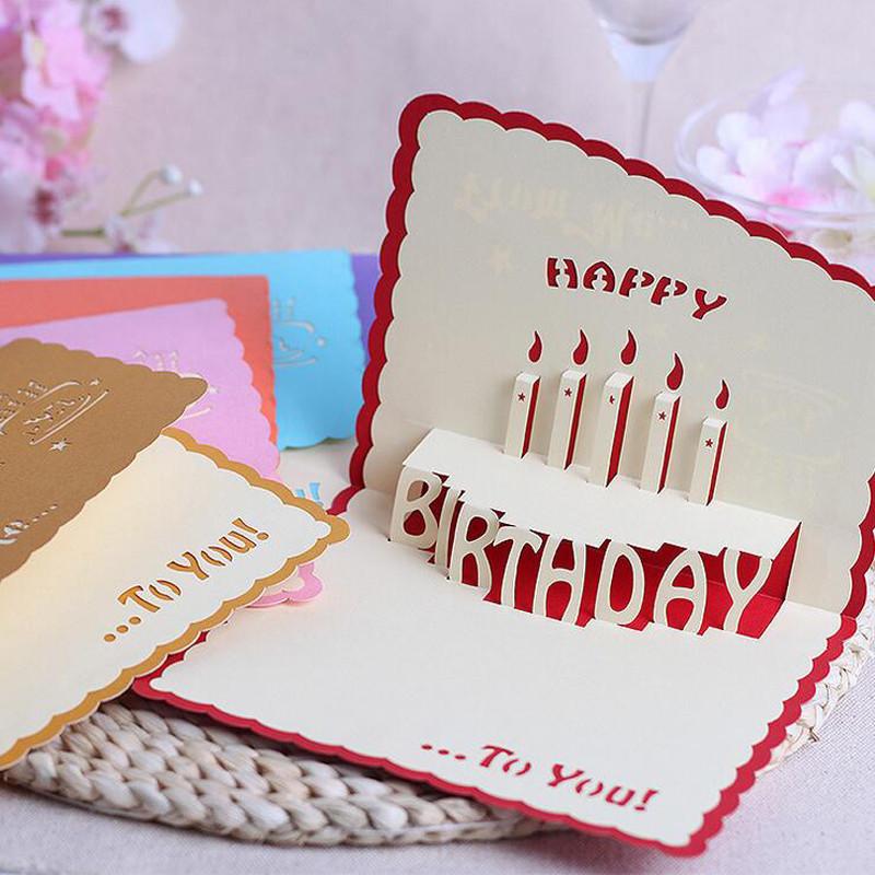 孩派 立體3d手工創意賀卡 兒童生日賀卡生日蛋糕賀卡 紙雕卡片