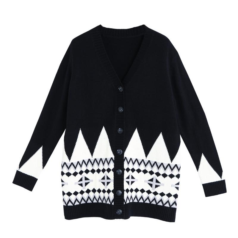 初语2018春中长款黑色毛衣外套女 撞色民族风v领宽松针织衫开衫
