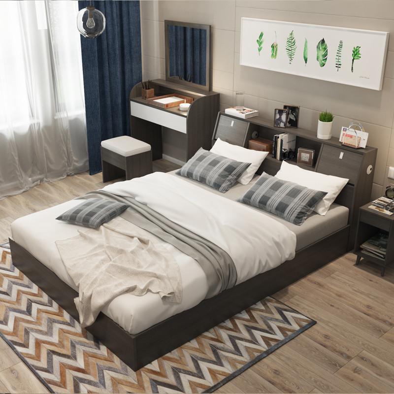 5米床1.8米床 床头储物床 实木排骨架床