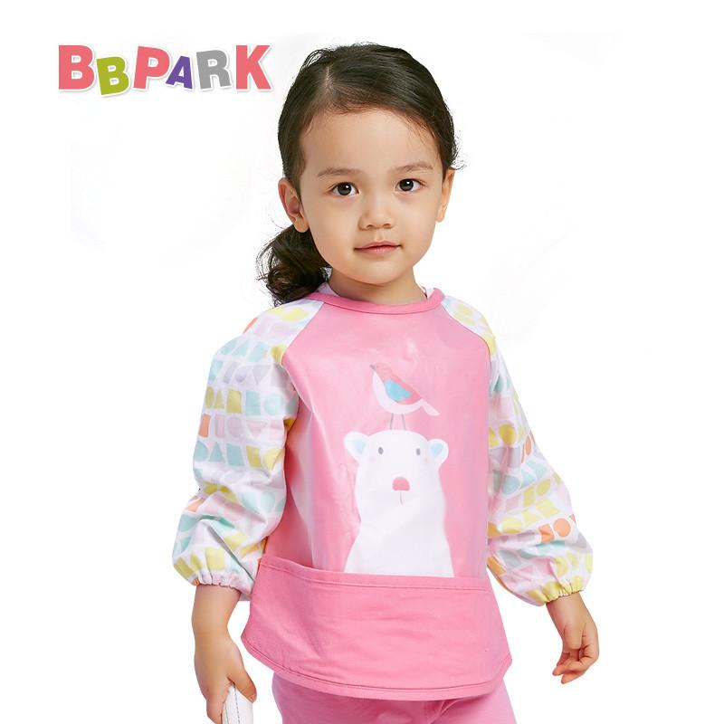 贝贝帕克宝宝带兜防水饭衣婴幼儿有袖反穿衣儿童卡通罩衣画画衣