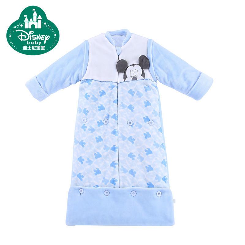 迪士尼宝宝睡袋秋冬婴儿睡袋纯棉儿童法兰绒夹棉脱袖成长睡袋