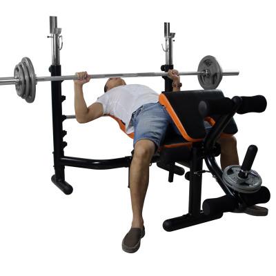 雷克多功能举重床卧推架杠铃组合套装深蹲架组合家用健身器材 配60KG烤漆杠铃