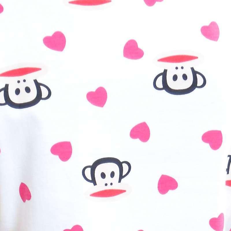 华绮罗2015夏季新品棉质可爱大嘴猴粉色桃心短袖家居服套装睡衣两件套