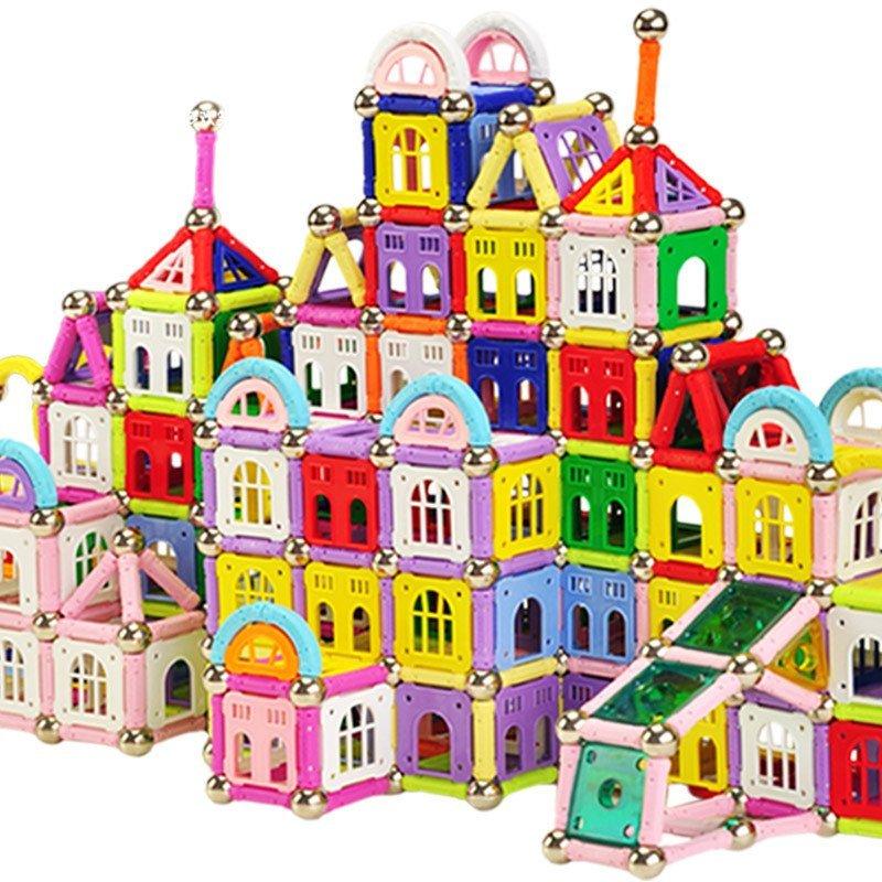 芙蓉天使 磁力棒磁性拼搭建构积木儿童益智玩具 130件袋装(小房子)