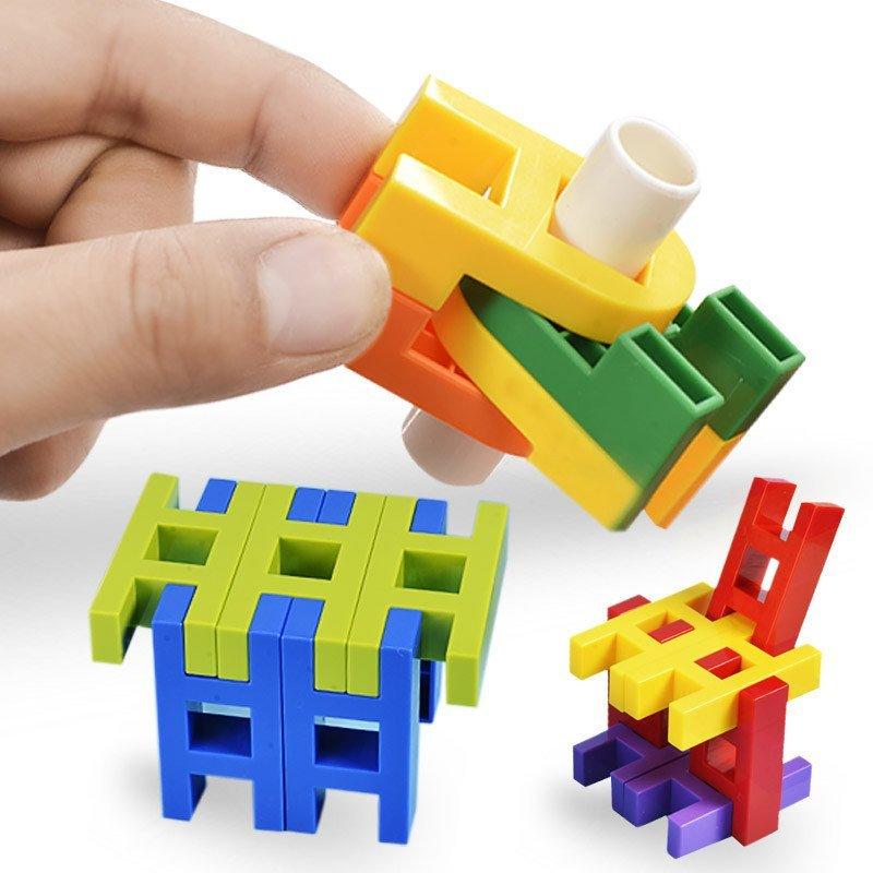 芙蓉天使幼儿园儿童百变万能拼搭积木塑料构建拼插积木益智玩具59件