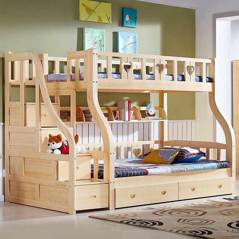 实木卧室组合 儿童卧室 挂梯(书架 双抽)双层床-包安装