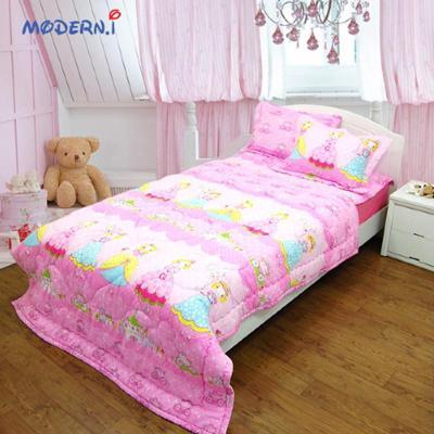 i]可爱美丽公主水洗版粉色床上用品四件套薄被160*210毯子115*210枕套