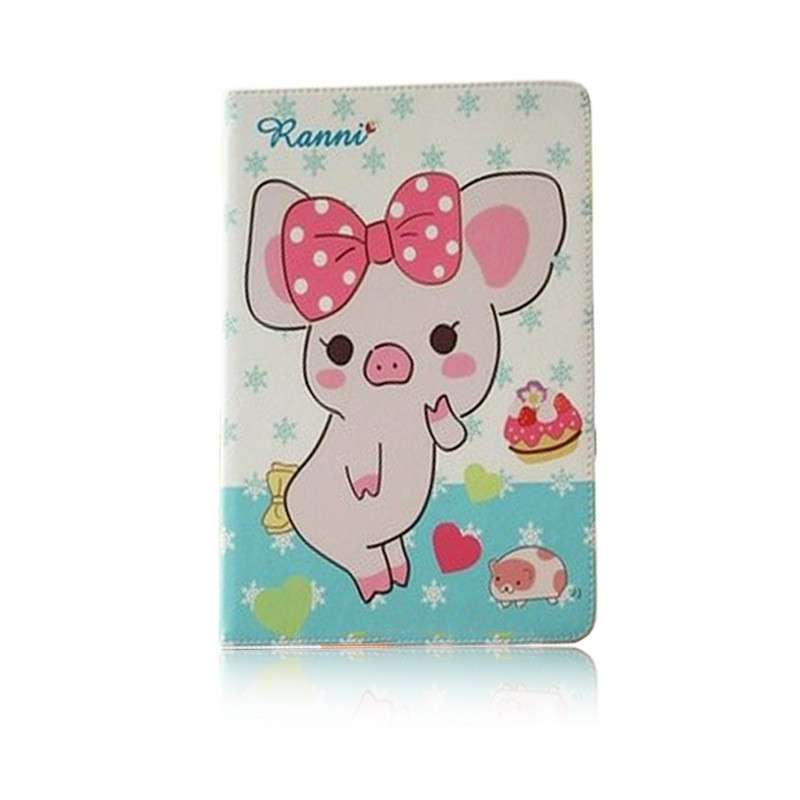 苹果ipad mini2/1茶包猪卡通休眠皮套 mini2支架保护套(白底茶包猪)