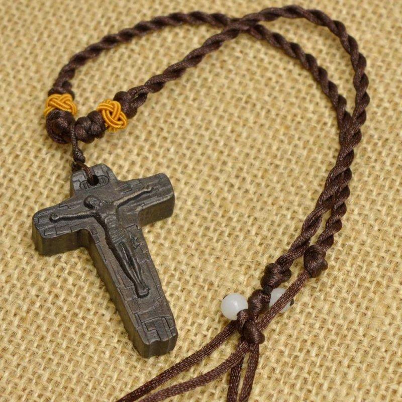 多吉米十字架项链男女耶稣基督教木雕吊坠挂件饰品小