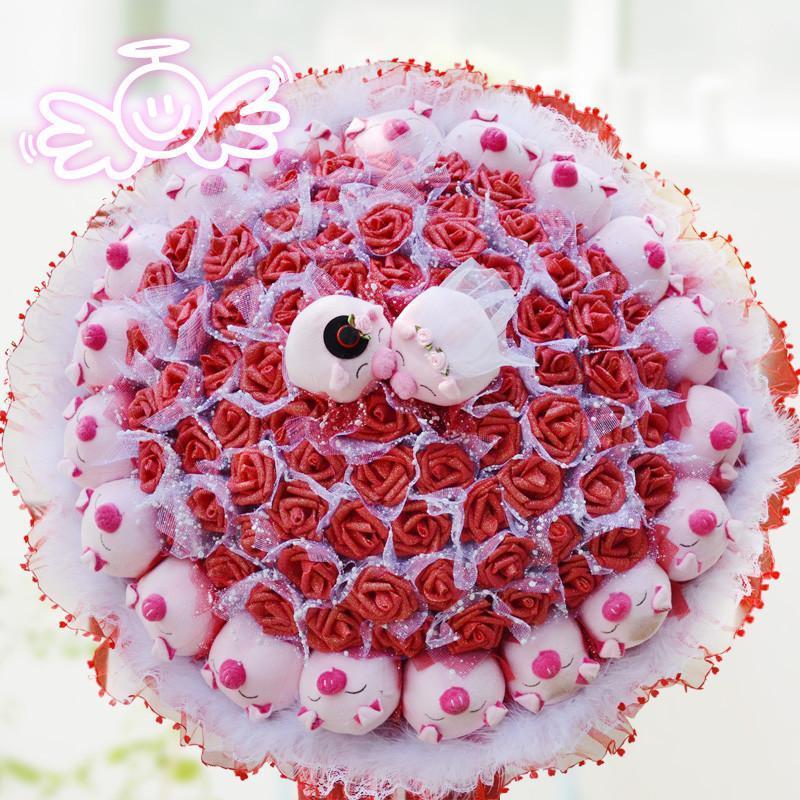 绿盒子 结婚礼物卡通花束可爱玩偶配78朵玫瑰花 手捧公仔花束 娃娃花