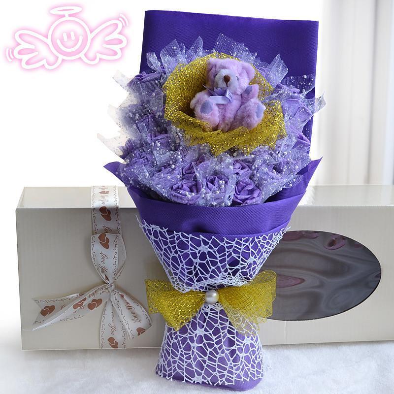绿盒子 33朵玫瑰花配超大泰迪熊卡通花束 情人节礼物时尚公仔花束