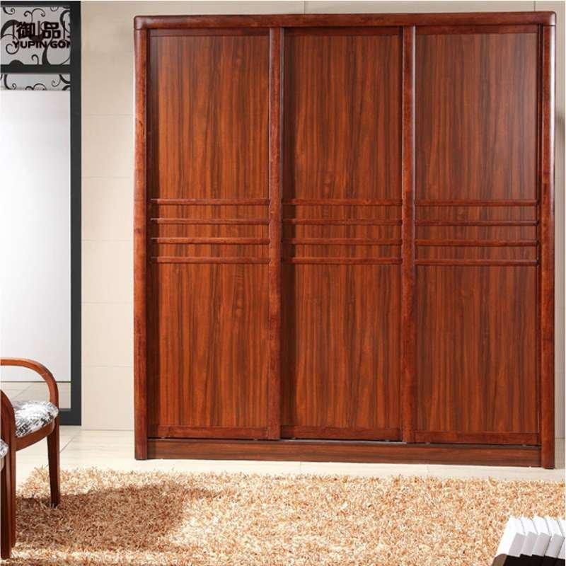 【御品工匠】乌金木色现代中式实木衣柜 三门衣柜 推拉门木质衣柜 k02