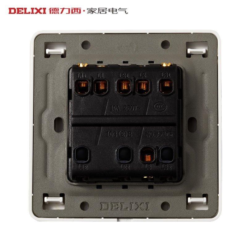 德力西开关插座 插座面板 开关面板 墙壁开关 三开单控荧光开关