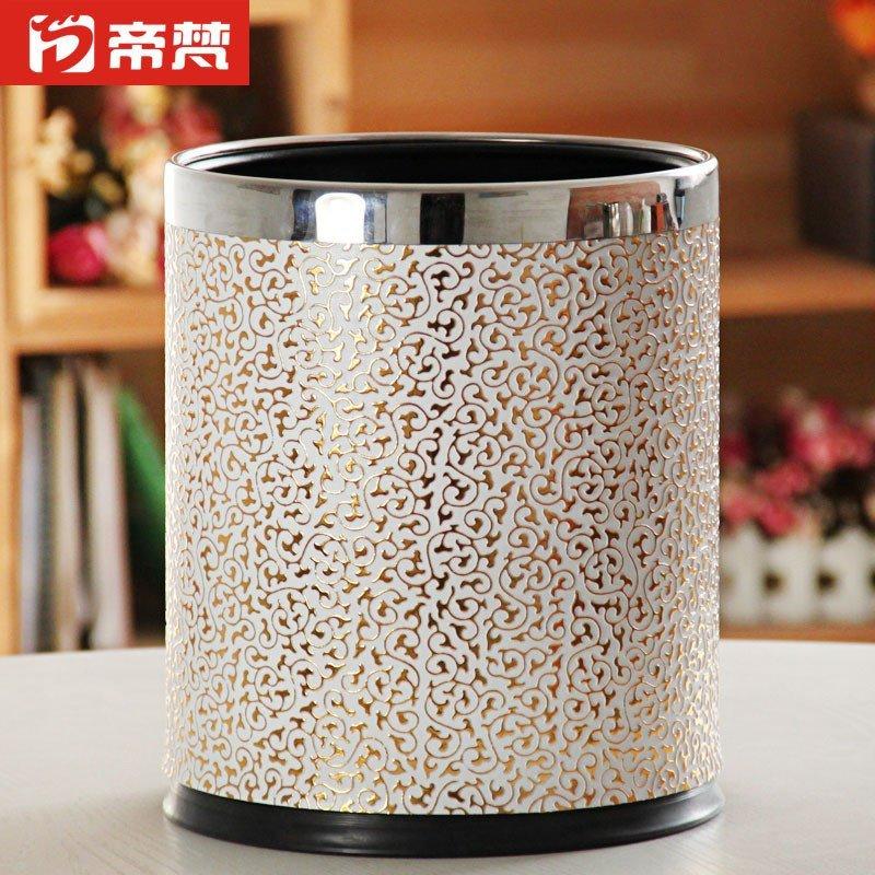 欧式垃圾桶双层垃圾筒时尚创意高档家用客厅卧室白底