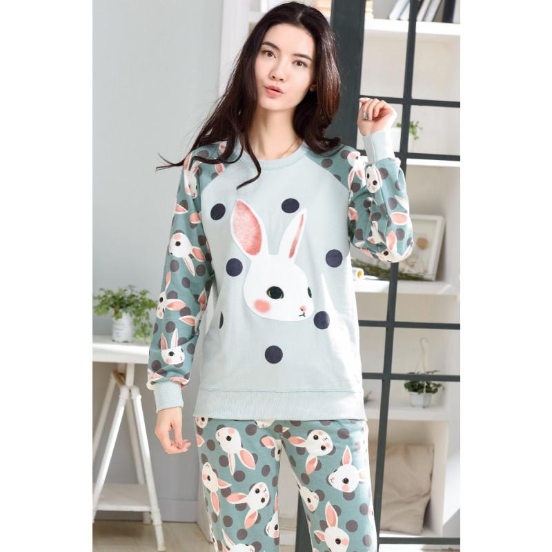 序柔睡衣女秋季纯棉长袖套装女士韩版清新可爱卡通春夏可外穿家居服