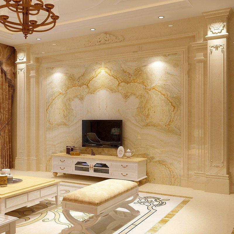 唐夢 微晶石電視背景墻 瓷磚歐式客廳仿大理石背景墻