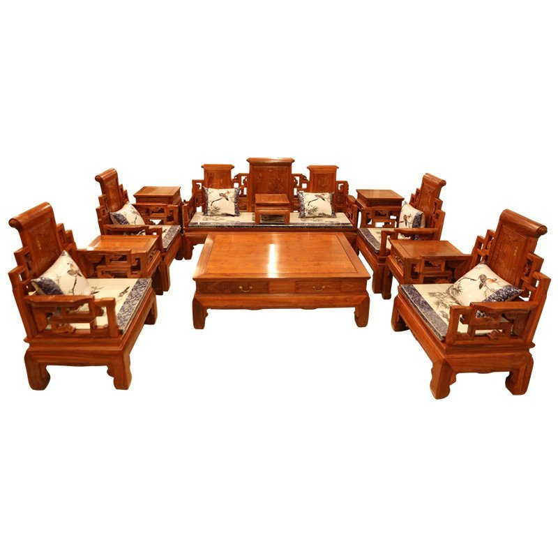 新中式實木沙發組合 新古典東陽紅木沙發非洲花梨木沙發仿古紅木家具圖片