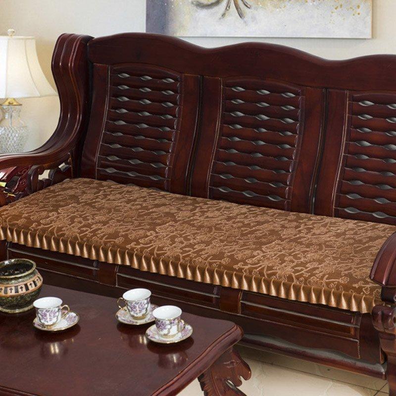 添富贵家纺 水晶绒3d压花实木红木沙发座垫 可拆洗防滑沙发垫