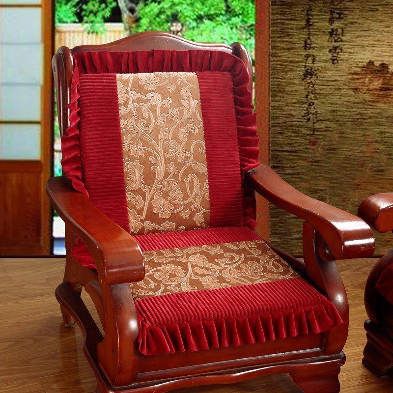 添富贵家纺 烫花双拼实木红木沙发单坐垫 四季花边款防滑沙发座垫