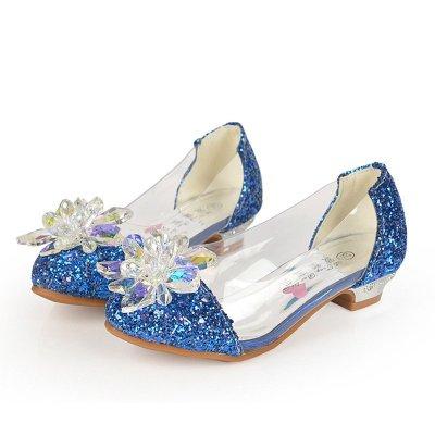 女童秋鞋小女孩子水晶鞋灰姑娘儿童高跟鞋公主皮鞋水钻单鞋闪 蓝色 34