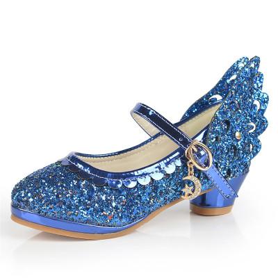 鞋软底儿童高跟鞋小学生女孩子单鞋春秋公主鞋6789岁 蓝色 29码肉长1