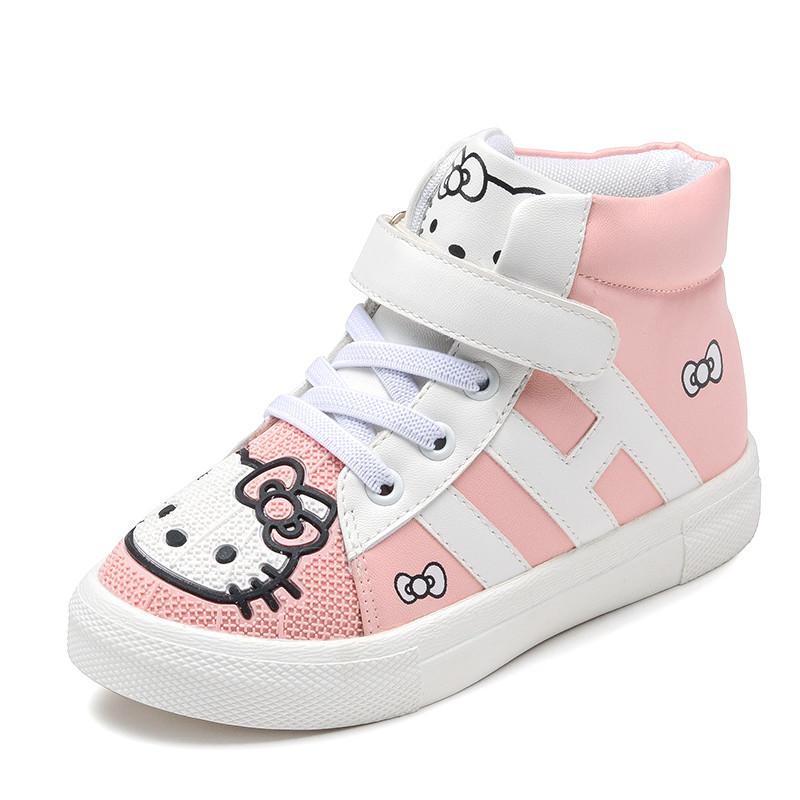 儿童运动鞋女童鞋秋冬新款韩版可爱小女孩公主旅游鞋高帮休闲板鞋