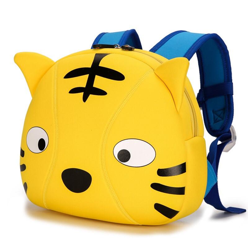 儿童书包幼儿园防走失包卡通动物幼儿背包护脊潜水料双肩包 黄色