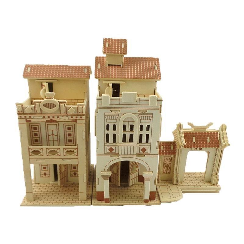 广州骑楼 木制3d立体拼图木质儿童diy房子动手益智建筑儿童玩具
