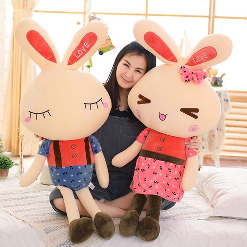 悦达 情侣小兔公仔大白兔布娃娃毛绒玩具抱枕大号 情人节生日礼物女生