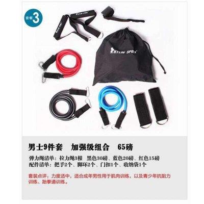 骐骏 拉力绳套装 弹力绳力力量训练套装多功能拉力器材皮筋管臂力阻力带