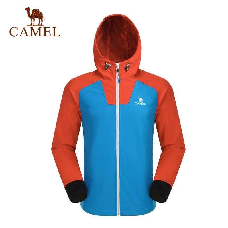 camel 骆驼户外越野防风外套 男开衫舒适保暖软壳衣