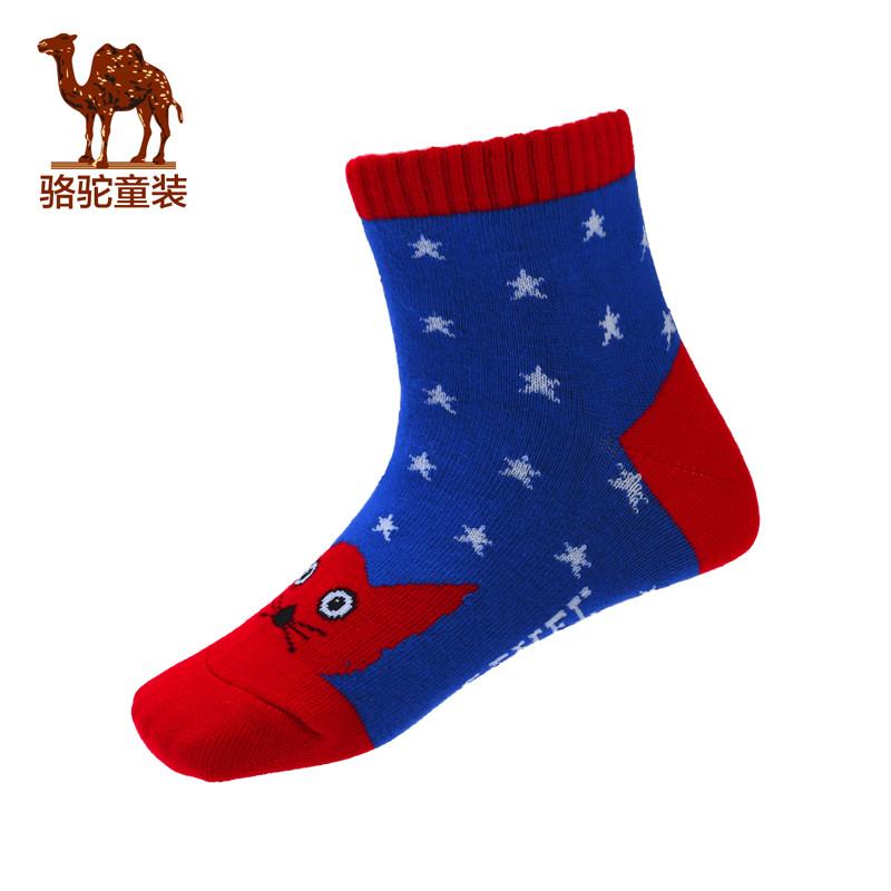 camel小骆驼童装2017年秋冬可爱猫咪图案男童袜8-10岁