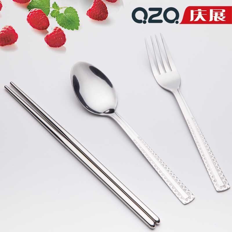 庆展不锈钢汤勺饭勺调羹 不锈钢勺子筷子套装 便携餐具2件套w11