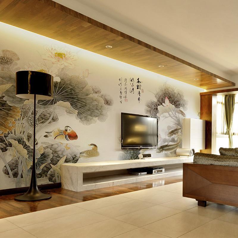 米素客廳電視背景墻壁紙 大型壁畫 中式臥室山水畫壁紙 詠荷漁趣 高端