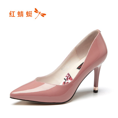 红蜻蜓高跟鞋冬款真皮透气尖头浅口细跟高跟鞋女性感漆皮夜店女鞋百搭OL职业工作单鞋